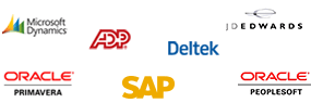 Oracle Primavera, Microsoft Dynamics, ADP, SAP, Deltek, JD Edwards