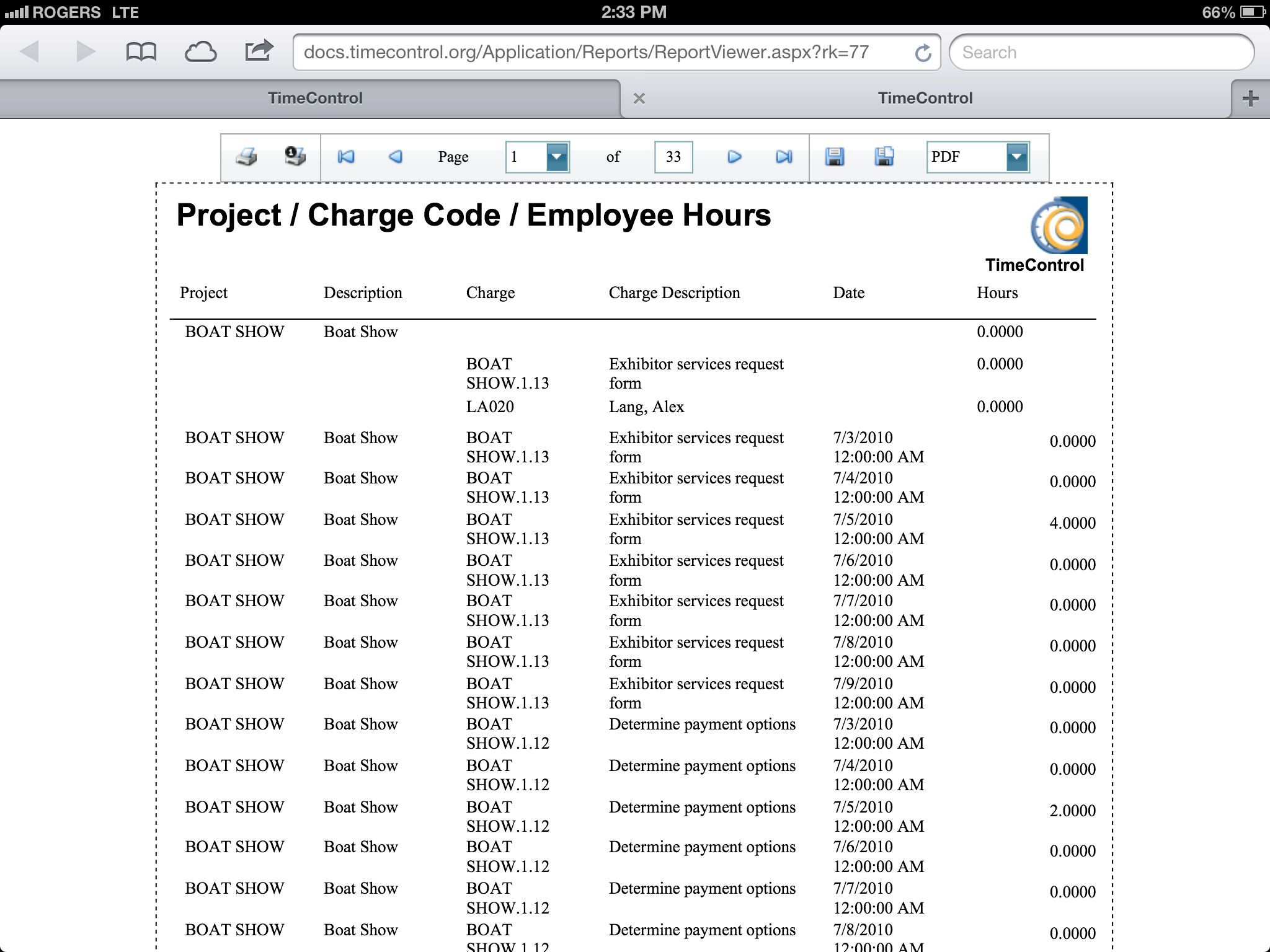 TimeControl Report Project / Charge Code / Employee Hours