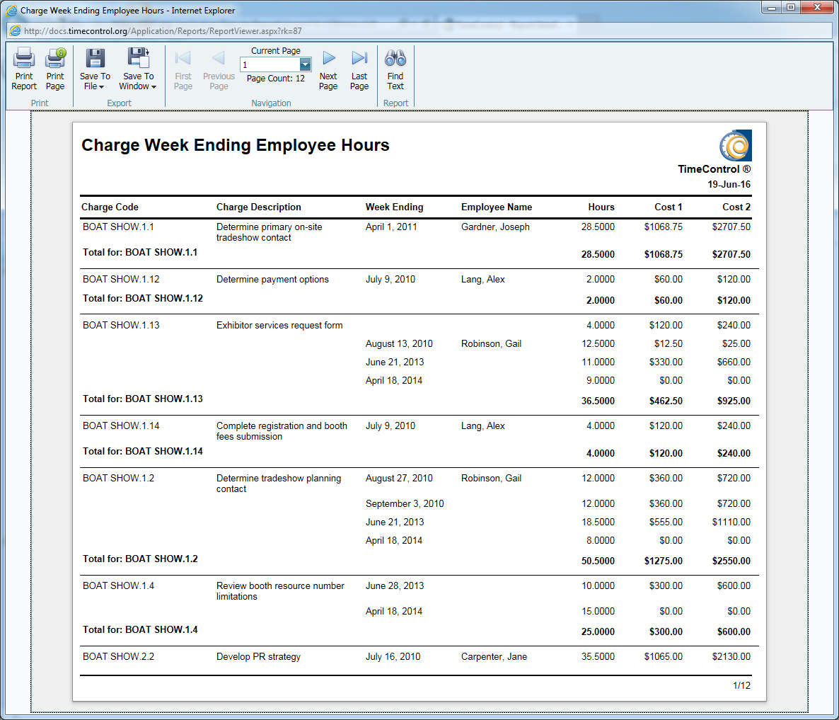 TimeControl Report Charge / Week Ending / Employee Hours Report