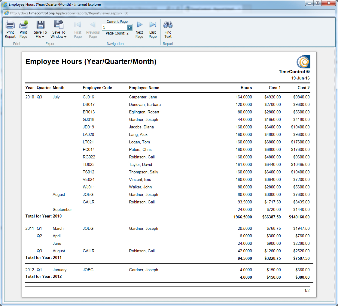 TimeControl Charge Quarter Year Employee Hours and Costs Report