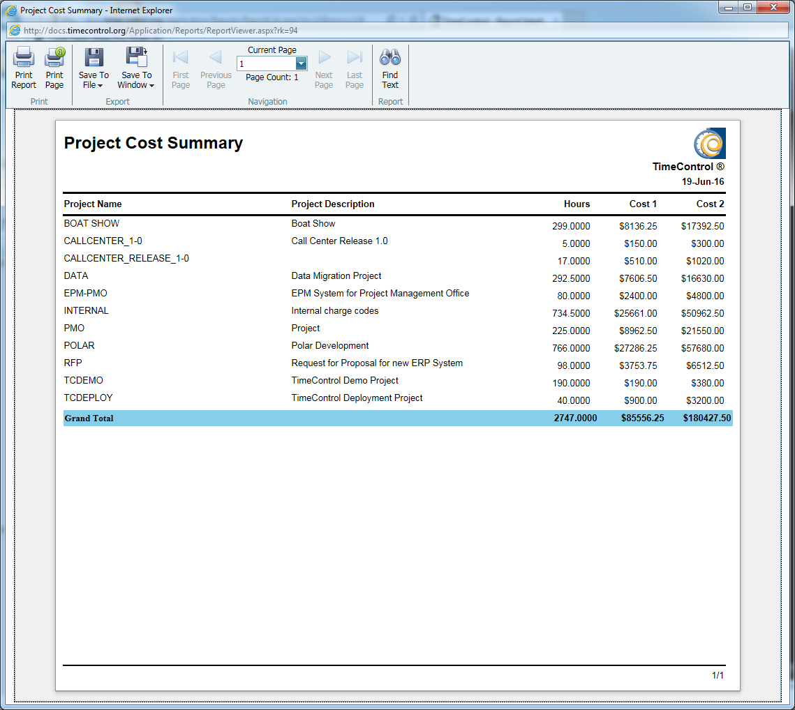 TimeControl Project Cost Summary Report