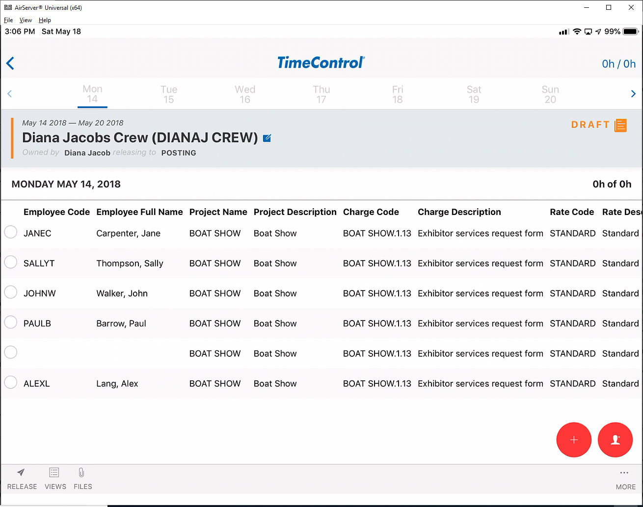 TimeControl Mobile App Crew Timesheets