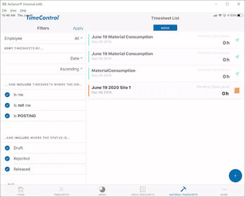 TimeControl Mobile App Materials Entry on a tablet